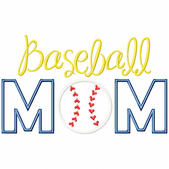 Baseball Mom Satin and Zigzag Applique Machine Embroidery Design
