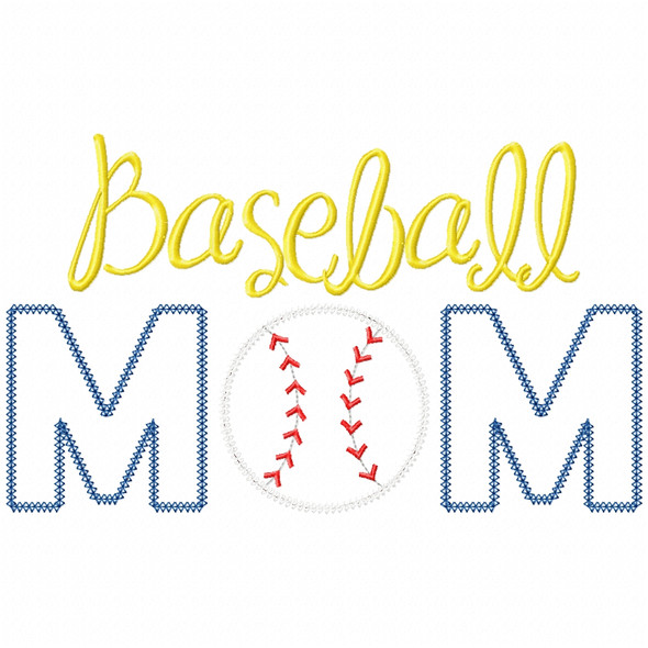 Baseball Mom Vintage and Chain Applique Machine Embroidery Design