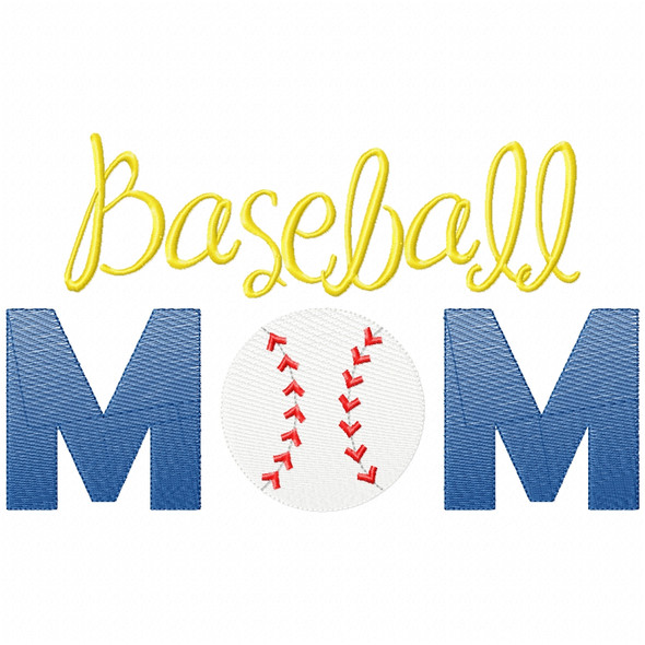 Baseball Mom Simple Stitch and Sketch Fill Applique Machine Embroidery Design