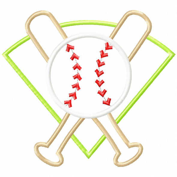 Baseball Montage Satin and Zigzag Applique Machine Embroidery Design