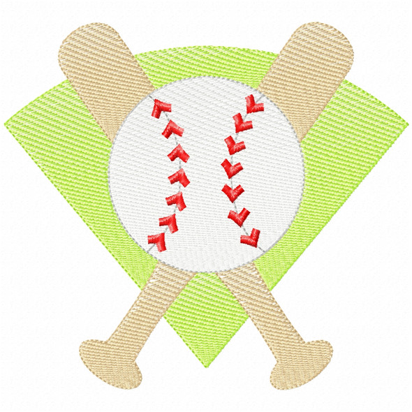 Baseball Montage Simple Stitch and Sketch Fill Applique Machine Embroidery Design