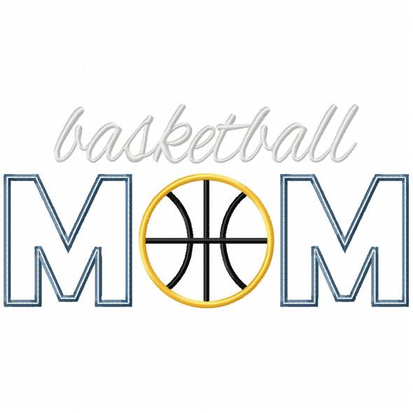 Basketball Mom Satin and Zigzag Applique Machine Embroidery Design