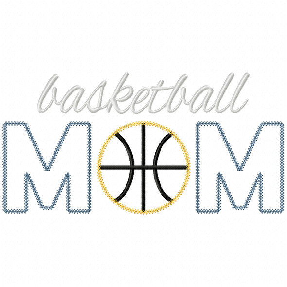 Basketball Mom Vintage and Chain Applique Machine Embroidery Design