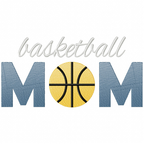 Basketball Mom Simple Stitch and Sketch Fill Applique Machine Embroidery Design