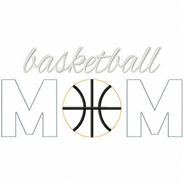 Basketball Mom Simple Stitch and Sketch Fill Applique