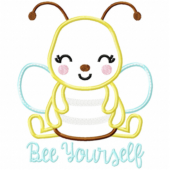 Bee Yourself Satin and Zigzag Applique Machine Embroidery Design