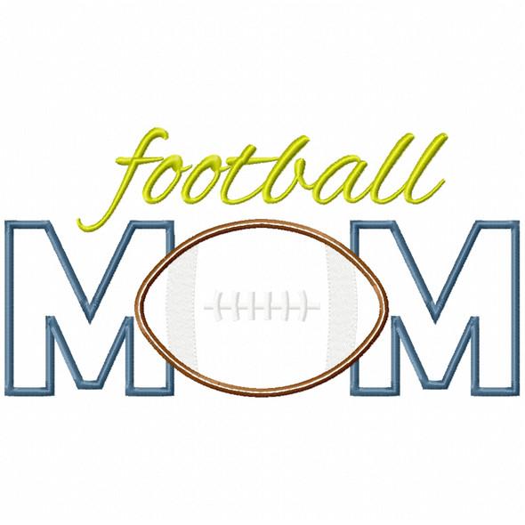 Football Mom Satin and Zigzag Applique Machine Embroidery Design