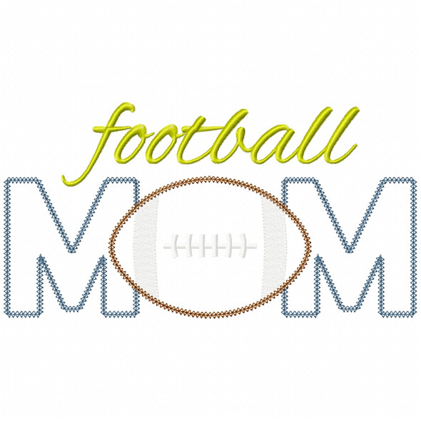 Football Mom Vintage and Chain Applique Machine Embroidery Design