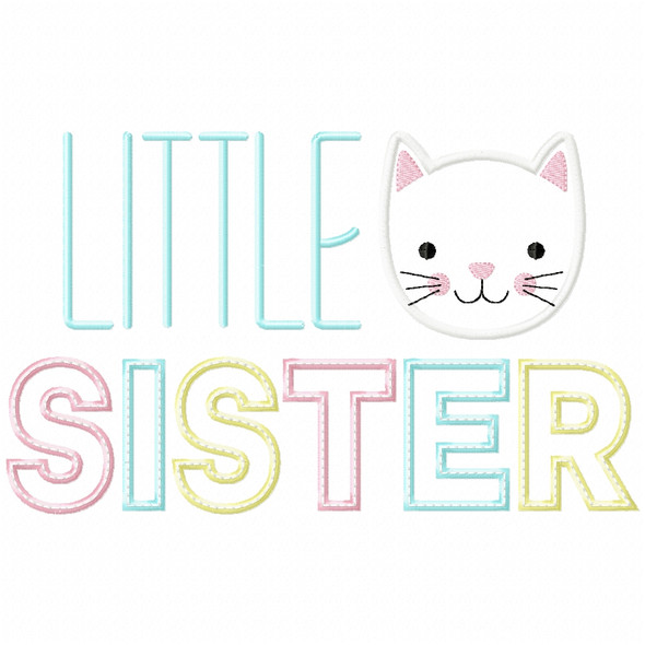 Little Sister Satin and Zigzag Applique Machine Embroidery Design