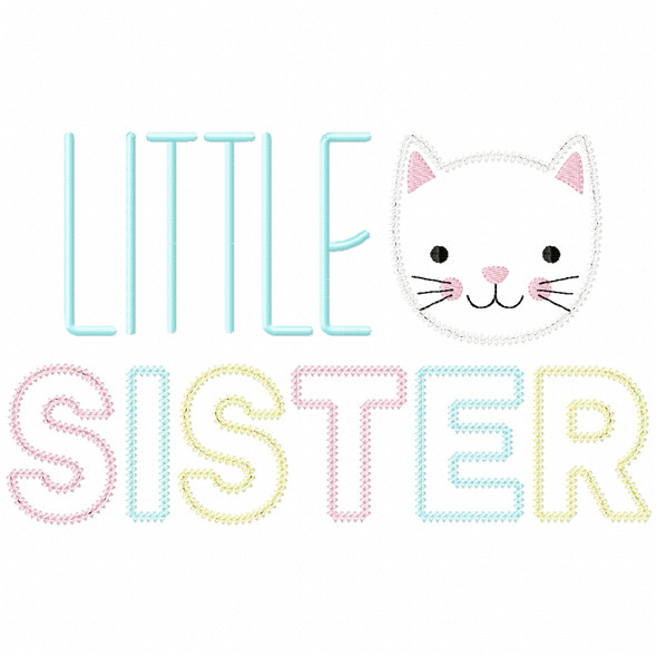 Little Sister Vintage and Chain Applique Machine Embroidery Design