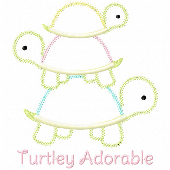 Turtley Adorable Vintage and Chain Applique Machine Embroidery Design