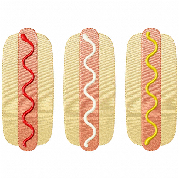 Hot Dogs Simple Stitch and Sketch Fill Applique