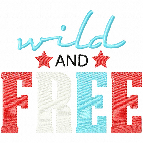 Wild and Free Simple Stitch and Sketch Fill Applique Machine Embroidery Design