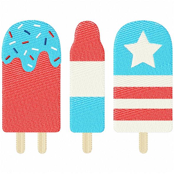 Patriotic Pops Simple Stitch and Sketch Fill Applique Machine Embroidery Design