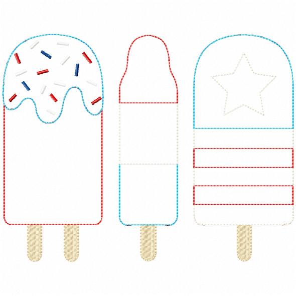 Patriotic Pops Simple Stitch and Sketch Fill Applique