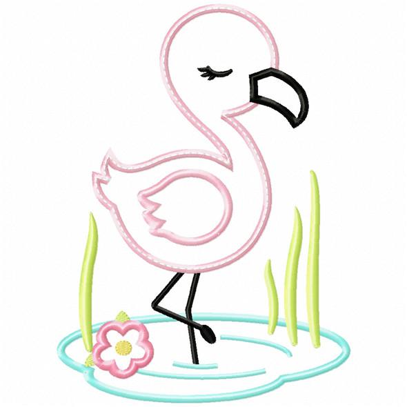 Wading Flamingo Satin and Zigzag Applique Machine Embroidery Design