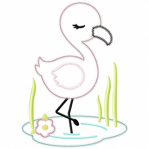 Wading Flamingo Satin and Zigzag Applique