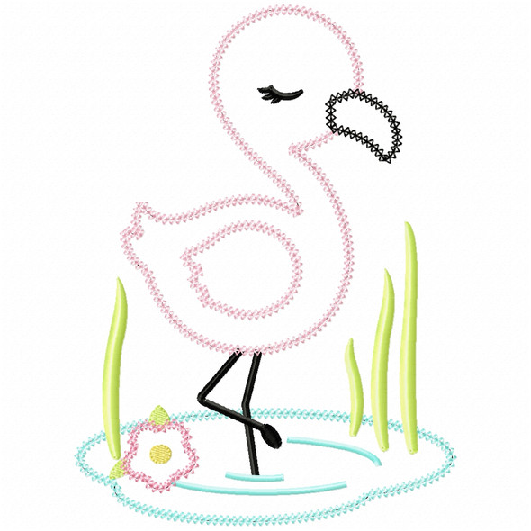Wading Flamingo Vintage and Chain Applique Machine Embroidery Design