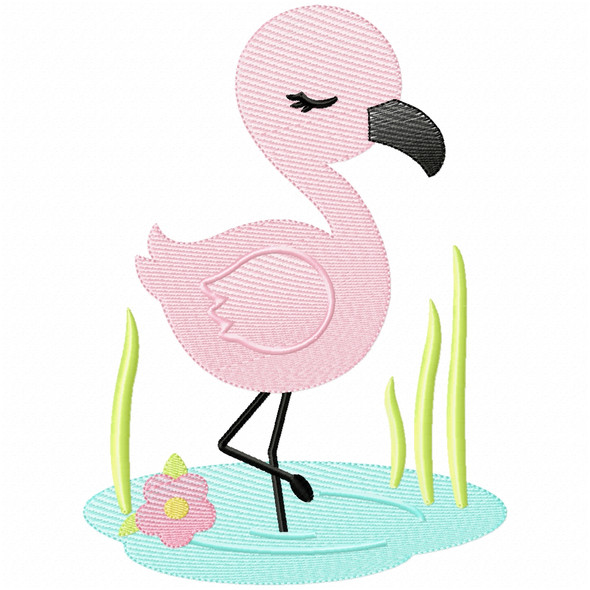 Wading Flamingo Simple Stitch and Sketch Fill Applique Machine Embroidery Design