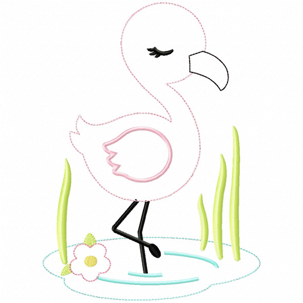 Wading Flamingo Simple Stitch and Sketch Fill Applique