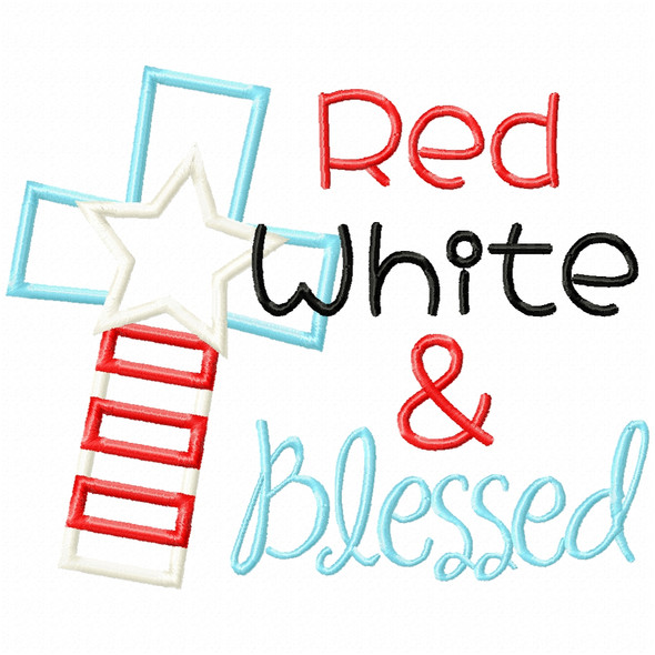 Red White and Blessed Satin and Zigzag Applique Machine Embroidery Design