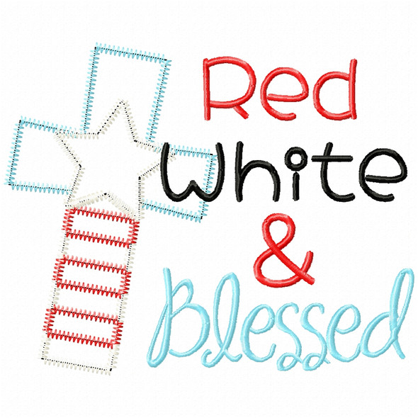 Red White and Blessed Satin and Zigzag Applique