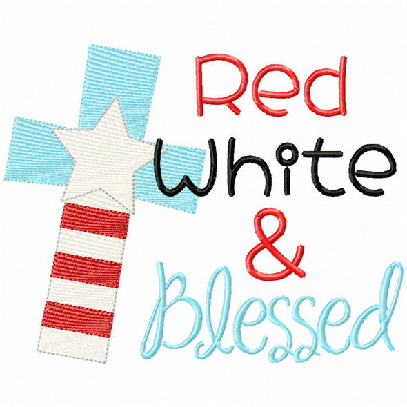 Red White and Blessed Simple Stitch and Sketch Fill Applique Machine Embroidery Design