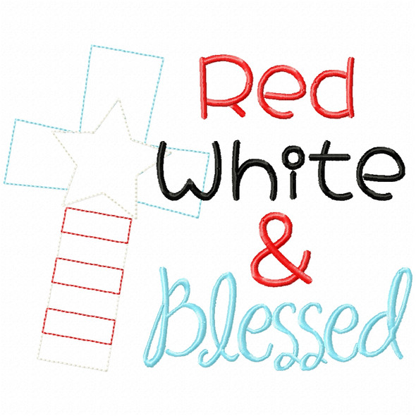 Red White and Blessed Simple Stitch and Sketch Fill Applique