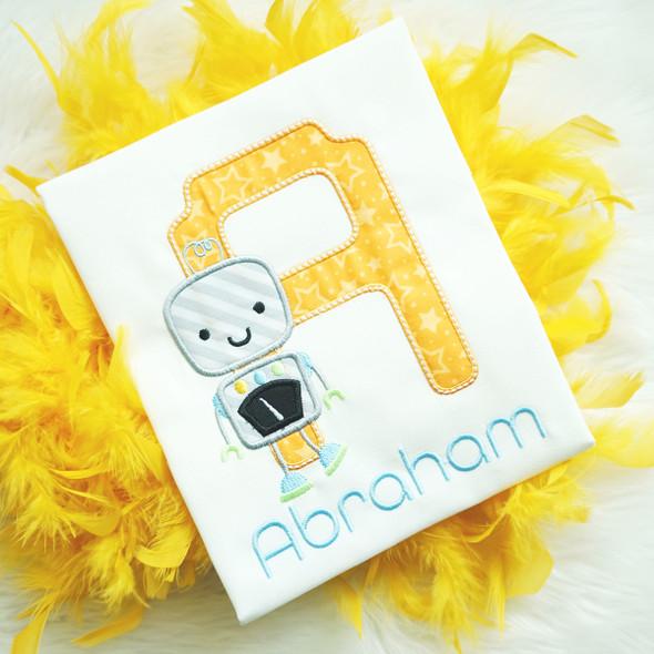 Robo Boy Applique Alphabet Machine Embroidery Design