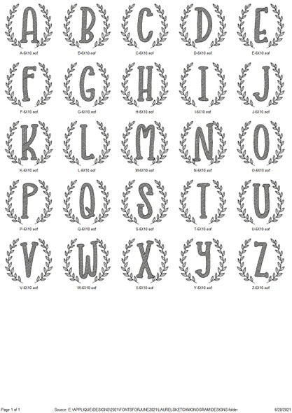 Laurel Sketch Fill Monogram Alpha