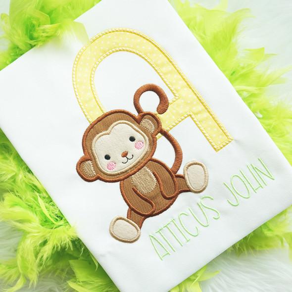 Monkey Business Applique Alphabet Machine Embroidery Design