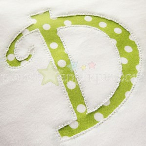 Reverse Applique Curlz Alphabet Machine Embroidery Design