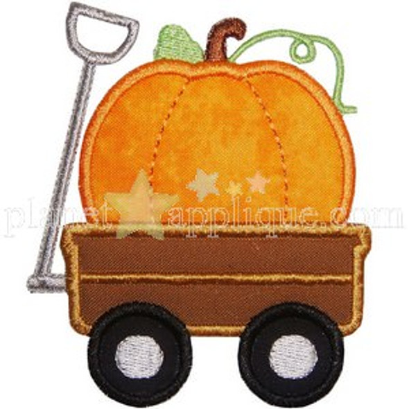 Pumpkin Wagon Applique Machine Embroidery Design