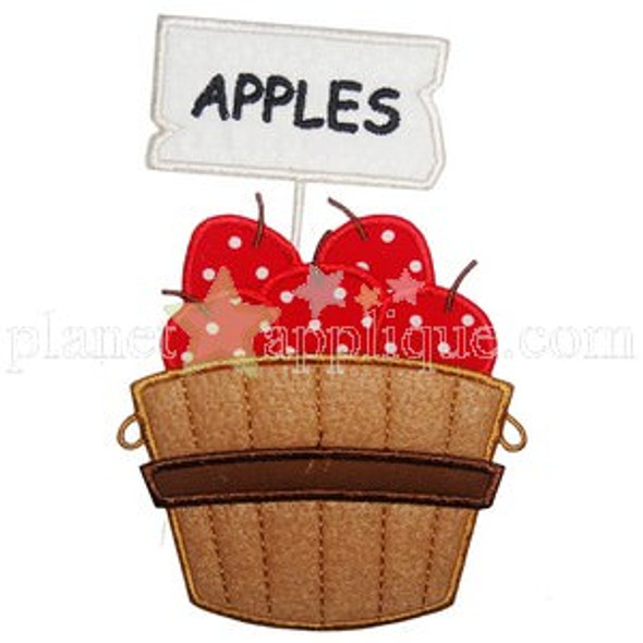 Apple Crate Applique Machine Embroidery Design