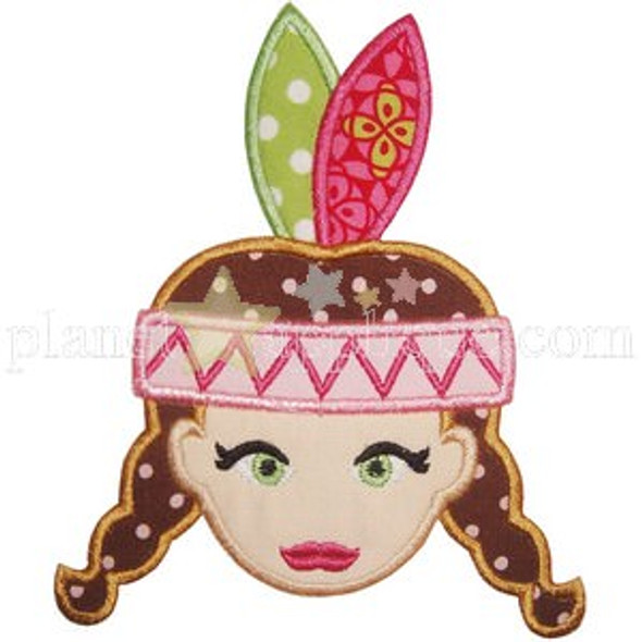 Indian Girl Applique Machine Embroidery Design