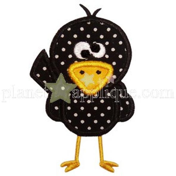 Cute Crow Applique Machine Embroidery Design