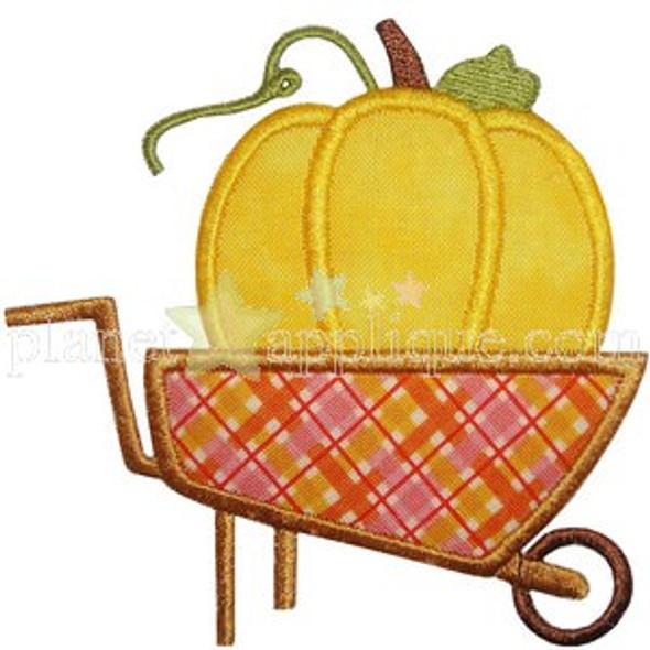 Pumpkin Wheelbarrow Applique Machine Embroidery Design