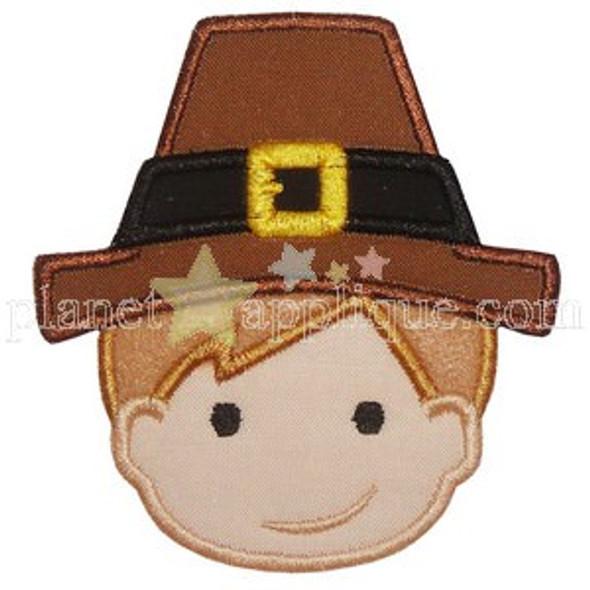 Pilgrim Boy Applique Machine Embroidery Design