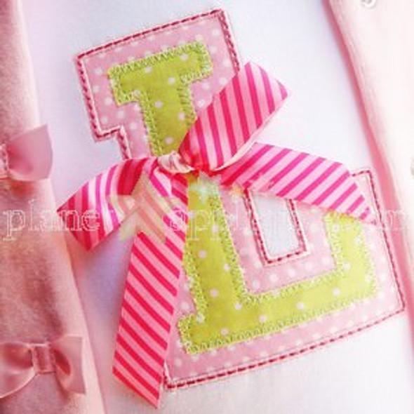 Sweet Varsity Alpha Machine Embroidery Design