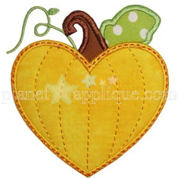 Pumpkin Heart Applique Machine Embroidery Design