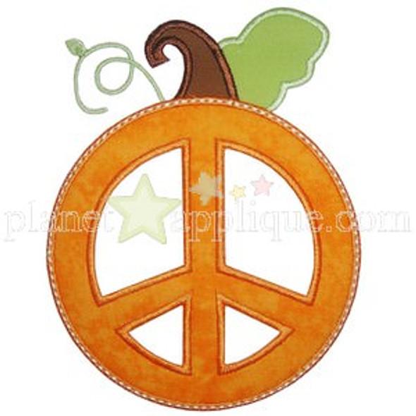 Peace Pumpkin Applique Machine Embroidery Design