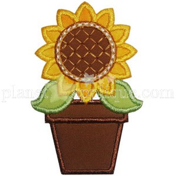 Potted Sunflower Applique Machine Embroidery Design