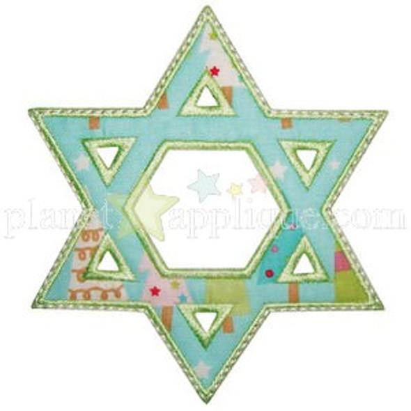 Star of David Applique Machine Embroidery Design