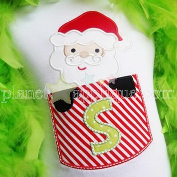 Santa Pocket Alphabet Machine Embroidery Design