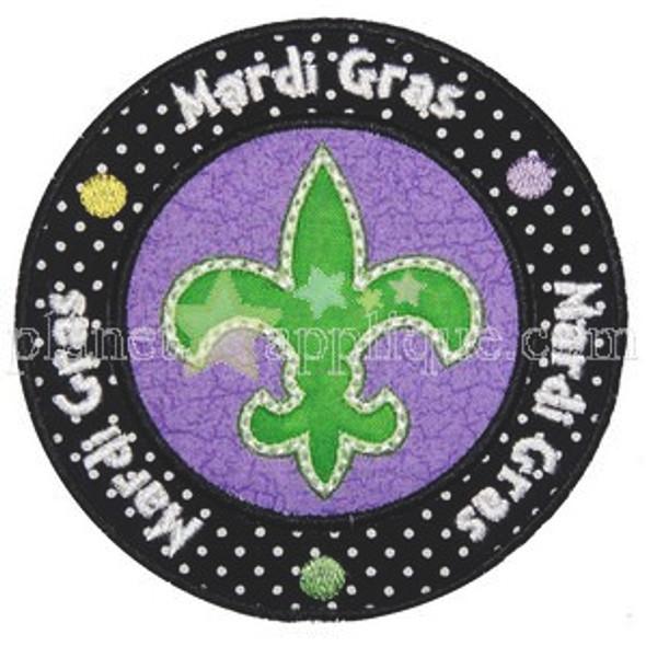 Mardi Gras Seal Applique Machine Embroidery Design
