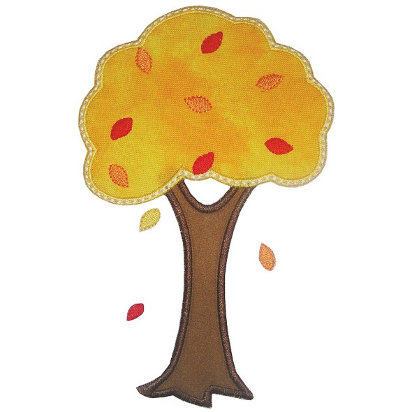 Fall Tree Applique Machine Embroidery Design