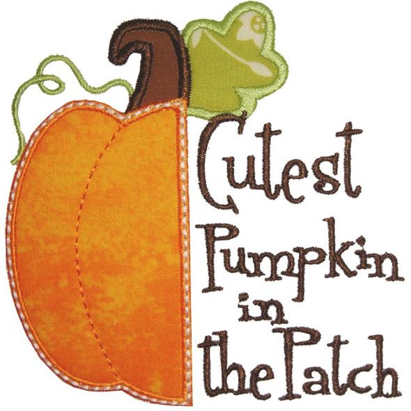Half Pumpkin Applique Machine Embroidery Design