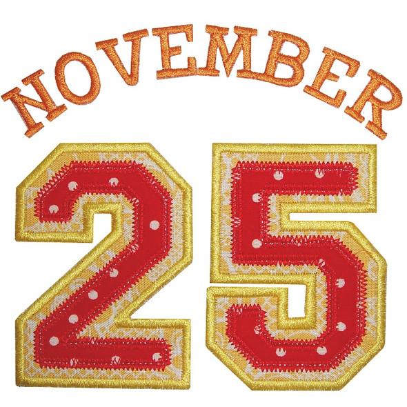 November 25th Applique Machine Embroidery Design
