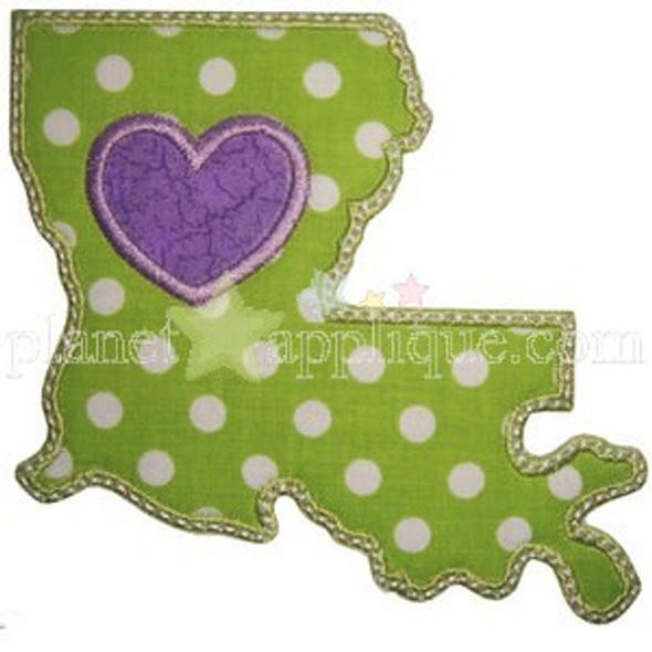 Love Louisiana Applique Machine Embroidery Design