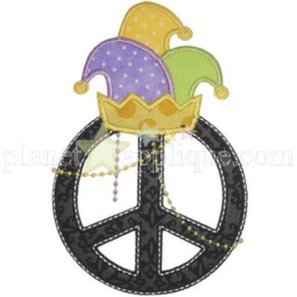 Mardi Gras Peace Machine Embroidery Design